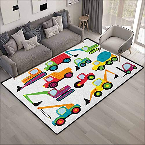 """Pet Rug,Construction Cute Style Vehicles and Heavy Equipment Forklift Earthmover Excavator Mixer,Anti-Static, Water-Repellent Rugs,5'3""""x7'10"""", Multicolor -  Beihai1Sun"""