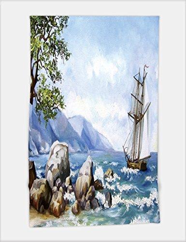 Minicoso Bath Towel oil painting sea views wallpaper with ship and sea 517440895 For Spa Beach Pool (South Seas Hut)