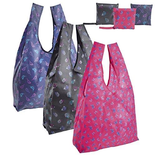 Plegable/Reutilizable Bolsa de la compra con bolsa, Ave, erizo O Mariposa Diseños rosa con mariposas