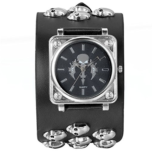JewelryWe Leathernk Rock Collection Black Heavy Men's Skull Leather Strap Band Watch Halloween Gifts