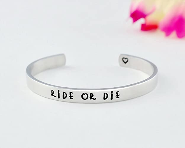 Amazoncom Ride Or Die Hand Stamped Aluminum Copper Brass Cuff