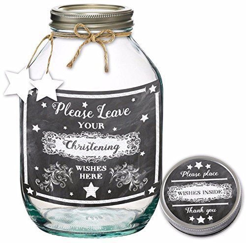 Hunky Dory Gifts Christening Wish Jar Alternative Guest Book Memories Keepsake Baby Gift