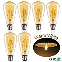 Edison Vintage LED Light Bulbs ST64 4W Amber Colour