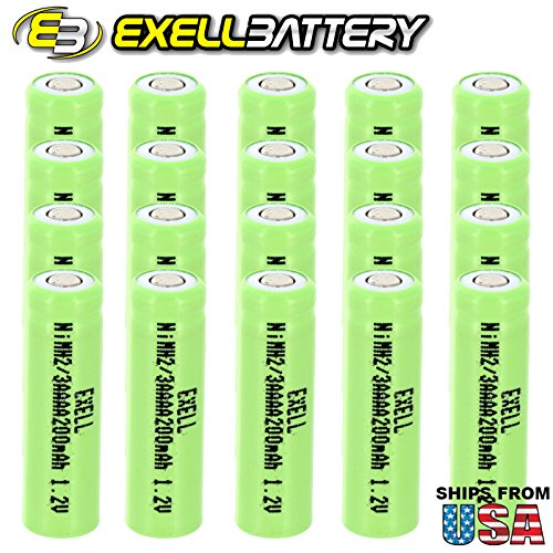 20x Exell 2/3AAAA NiMH 200mAh 1.2V Flat top Rechargeable Battery 200 Mah Nickel Metal