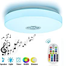 Ceiling Light 24W with Bluetooth Speaker Multi Color Changing and Dimmable,28key IR Remote Control,Mounted LED Ceiling Lamp for Living Room, Bedroom, Dining Room, bathroom (Remote Control)