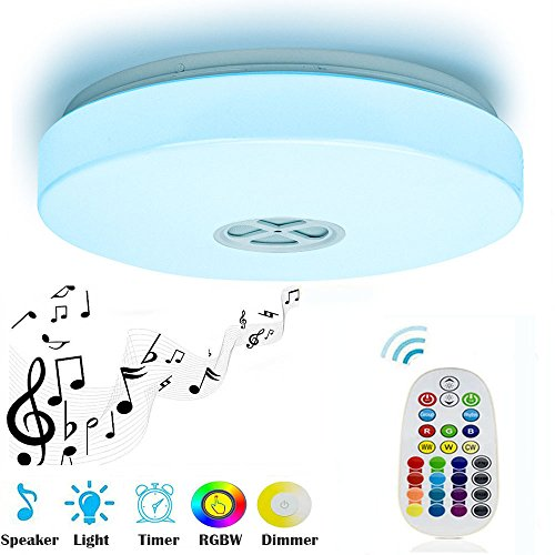 Ceiling Light 24W with Bluetooth Speaker Multi Color Changing and Dimmable,28key IR Remote Control,Mounted LED Ceiling Lamp for Living Room, Bedroom, Dining Room, bathroom (Remote Control) - 16' Low Bay Light