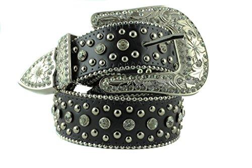Rhinestone Cowboy Belt (Deal Fashionista Women's BLACK Western Rhinestone Bling Studs Removable Buckle Leather Belt)