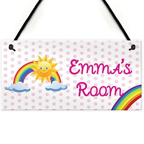 d Signs for Home Decor Hanging Wooden Plaques with Quotes Rainbow Personalised Door Name Plaque Girls Bedroom Room Sign Princess Fairies ()