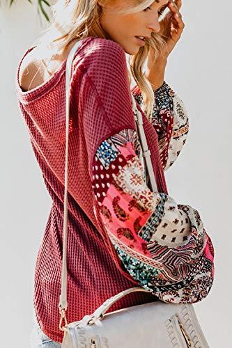 Femmes Lache Manches Chemise De Imprim Soie Patchwork en Bouffantes Mousseline Rouge Gomtrique Tops 1ZpxS1