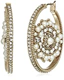 Marchesa Women's White Eye Hoop Earrings, Gold/White, One Size