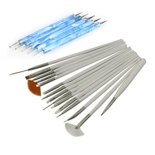 EVERMARKET 15Pcs Nail Art Design Painting Drawing Brushes White + 5 X 2 Way Marbleizing Dotting Pen Tools Set (Nail Art Dotting Tool Set compare prices)