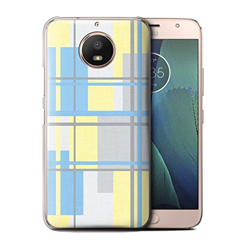 STUFF4 Phone Case/Cover for Motorola Moto E4 Plus 2017/Fabric Textile Design/Yellow Fashion (Phone Covers Fabric Snap)