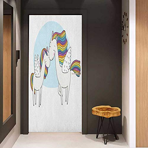 Onefzc Automatic Door Sticker Unicorn Pegasus Horses with Manes in Rainbow Colors and Wings Sweet Mythological Kids Tale Easy-to-Clean, Durable W35.4 x H78.7 Multicolor