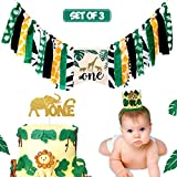 Vansolinne Jungle Safari Highchair Banner Tropical Wild One Themed 1st Birthday Party Decorations Crown Hat Cake Topper Set Baby Boy Zoo Animals Party Supplies Set of 3