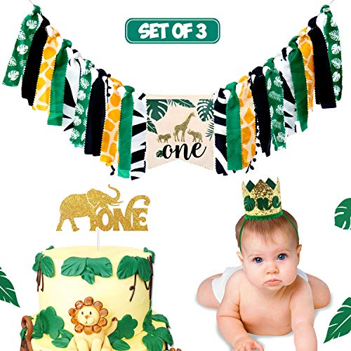 Safari Jungle Animals Themed First Birthday Highchair Banner Decorations, HighChair Banner Cake Smash Crown Decorations Set for Baby Girl Boy 1st Birthday Party Supplies, 3 in 1
