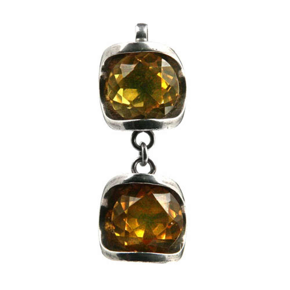 Honey Amber Sterling Silver Classic Double Style Pendant