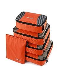 Gonex Packing Cubes Travel Luggage Packing Organizer,Laundry Bag included (Orange)