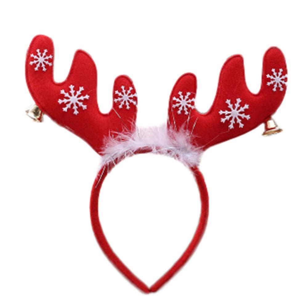 Pausseo Christmas Snowflake Santa Claus Deer Bear Earmuffs Headband Warm Kid Girls Boys Xmas Party Decor Double Hair Band Clasp Hoop Decorative Hair Comfortable Festival Headdress for Girls Boys (B)