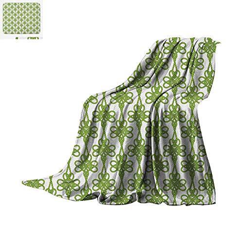 (Irish Lightweight Blanket Entangled Clover Leaves Twigs Celtic Pattern Botanical Filigree Inspired Retro Tile Velvet Plush Throw Blanket 62
