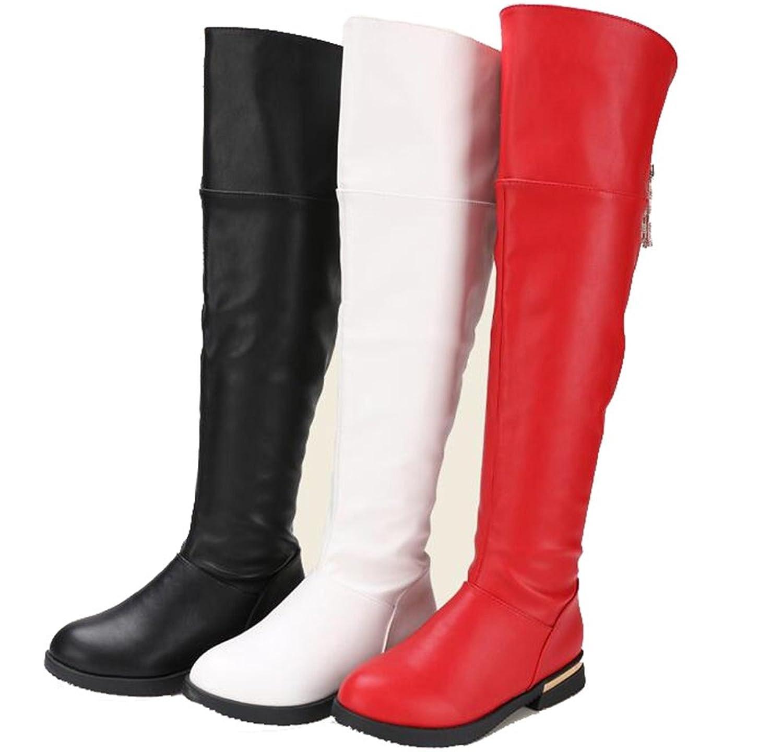 DADAWEN Maedchen Over-Knee Stiefel Wasserdicht Warm Gefuetterte Boots Schlupfstiefel Schwarz 7hwTS2Wbz
