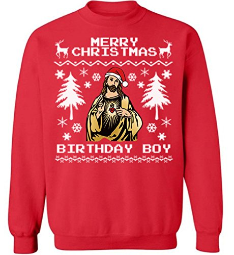 Sweatshirt Kids Birthday (Christmas Ugly Sweater Cal Jesus Sweatshirt Jesus Birthday Boy Christmas Sweater Christmas Jesus Sweater L)