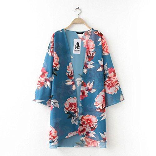 Soie Mousseline Kimono Vert Femme Chemise Femmes Soiree Bleu t B Plage de Chemisier Floral Chic Cardigans Couvertures de q8nYw1z
