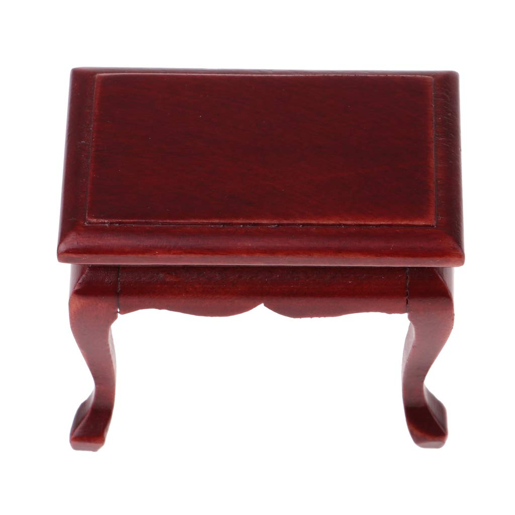 1:12 Dollhouse Miniature Wood Furniture Red Tea Table End Table Coffe Table