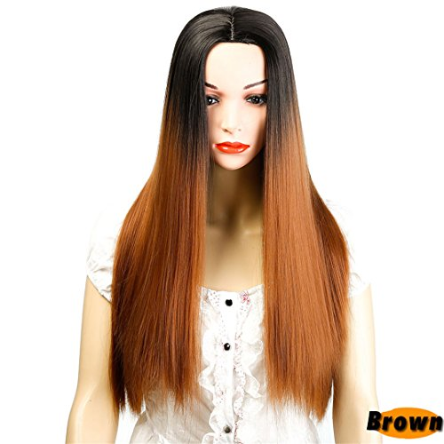 (22 Inch Long Straight Black Wig Hairstyles Heat Resistant Synthetic Wigs For Women Long Female Wigs Women #3 22inches)