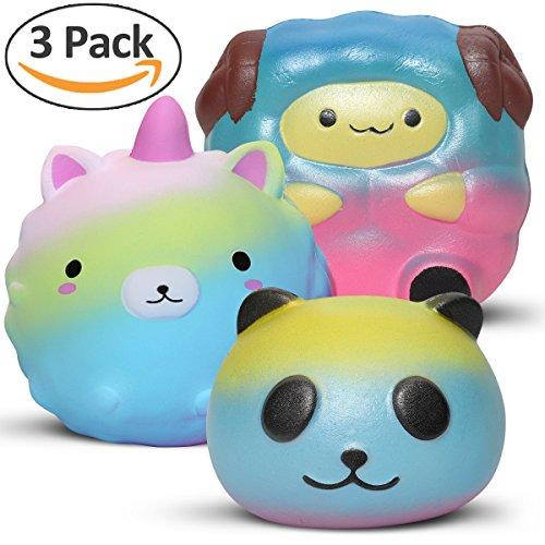 3 pcs jumbo unicorn squishies slow rising cut galaxy panda and sheep squishy toy by Hevout