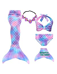GALLDEALS Mermaid Tails for Swimming with Monofin for Girls Kids Swimwear Bathingsuit