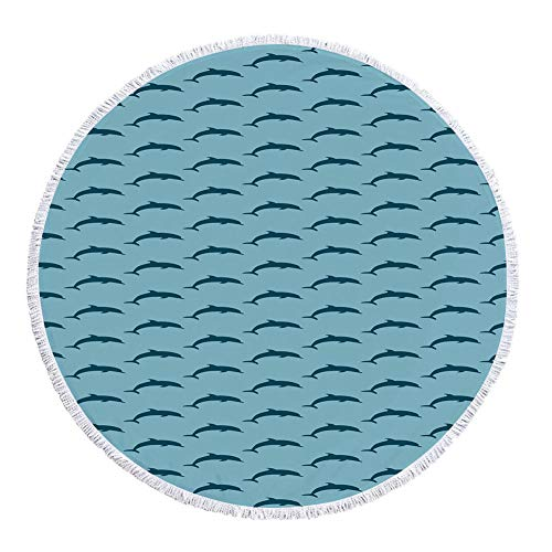 iPrint Thick Round Beach Towel Blanket,Dolphin,Ocean Fauna Collection Dolphin Silhouette with Blue Color Scheme Abstract,Pale Blue Dark Blue,Multi-Purpose Beach Throw