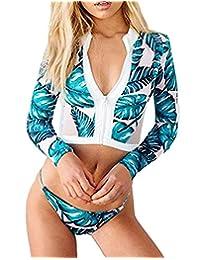 Lashapear Women Floral Print Long Sleeve Zipper Rash Guards Surf Bikini Set Swimsuit