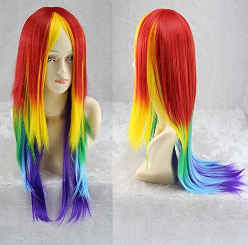 BeautySum Long Rainbow Synthetic Wig Cosplay for Boy Kids Rainbow Dash Straight Anime for Men - Natural Looking Heat Resistant Mixed Color Costume Natural Hairline -