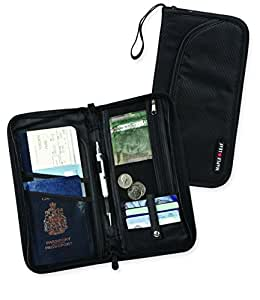 Maple Leaf Rfid Blocking Travel Organizer Wallet, Black, International Carry-On