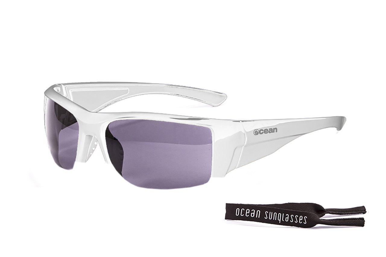 Ocean Sunglasses Hawaii - lunettes de soleil polarisées - Monture : Blanc Laqué - Verres : Fumée (11400.2) zSHux