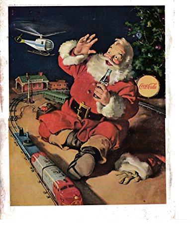 1963 Coca-Cola Coke Santa Claus Model Trains Original 13.5 * 10.5 Magazine Ad-Soda