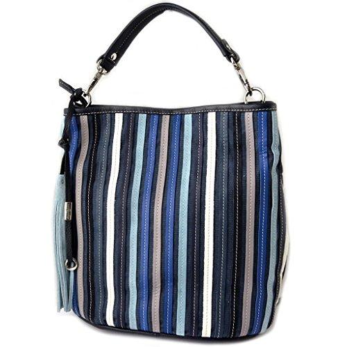 Borsa in pelle Gianni Contiin bianco e nero blu - 30x29x18 cm.