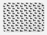 Lunarable Dogs Bath Mat, Cute Poodle Puppy Silhouette Animals in Monochrome Minimalist Artistic Design, Plush Bathroom Decor Mat with Non Slip Backing, 29.5 W X 17.5 W Inches, Black and White