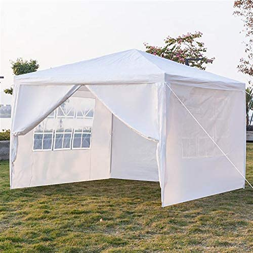 Hopekings Outdoor Gazebo Canopy Waterproof Wedding Party Tent with Removable Sidewalls for Beach BBQ Cater Events, White 10 x 10 , with 4 Sidewalls