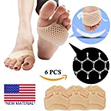 #7: Metatarsal Pads, Ball of Foot Cushion (6 PCS) *NEW MATERIAL* Forefoot Pads, Breathable & Soft Gel, Best for Diabetic Feet, Callus, Blisters, Forefoot Pain. Can be sued for both feet For Men and Women.
