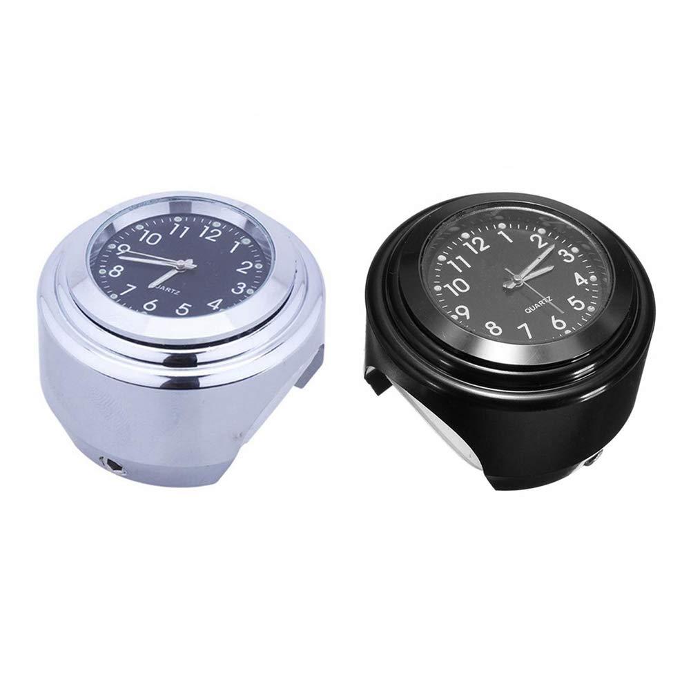 NAttnJf Motorrad-Uhr und Thermometer Universal Motorrad Styling Wasserdicht Lenkerhalterung Uhr Thermometer Set Schwarz