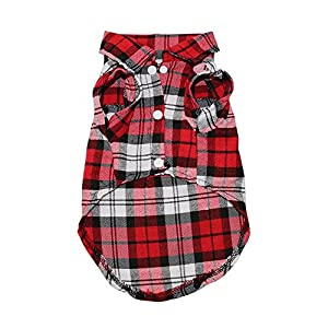 Pet Small Dog T Shirt Vest Soft Clothing Puppy Outfits Tee Clothes Yorkie Chihuahua (S, Red)