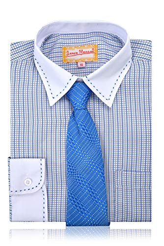 - JAMES MORGAN Boys Multicolor Shirt and Plaid Tie Navy Blue,Brown,Green,White 14
