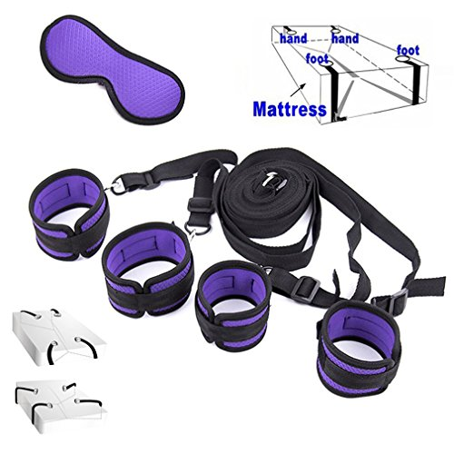 JuCai8 Premium Nylon Straps Kits, Adjustable Comfortable Wrist and Ankle Handcuffs -Purple