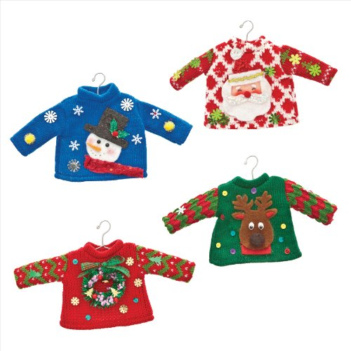 Demdaco Ugly Sweater Knit Ornaments - Set of 4 Assorted