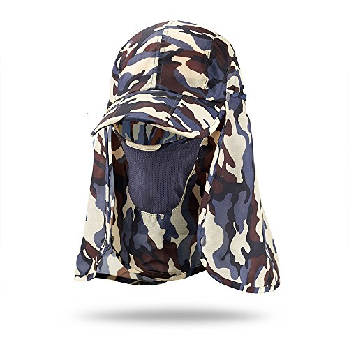 Tkas Sun Caps Fishing Hats Sports Outdoor Folding with Removable Neck&Face Flap Cover 360°Solar Protection UV 50+ Sunscreen Garden Camouflage Mosquito Hiking Beach Desert (Brown)