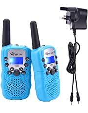 Upgrow Walkie Talkies, RT-388 Kids Walkie Talkie Children Walky Talky 8 Channel Rechargeable 2 Way Radio for Boys Girls 2-3 KM Range Built in LED Torch (Yellow, 8pcs AAA battery UK charger included)