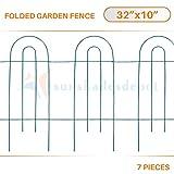 Sunshades Depot 7pcs 32'' x 10'' Border Folding Fence Backyard Garden Flower Decorative Metal Easy Fence