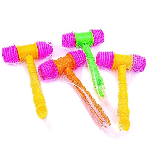 Hammer Squeaky Toy, 4 PCS Plastic Gavel Squeaky Toy Carnival Clown Hammer with Whistle Assorted Color April Fools Day Jokes -