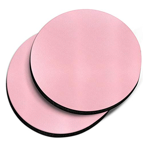 (CARIBOU Coasters, Solid Light Pink Design Absorbent ROUND Fabric Felt Neoprene Car Coasters for Drinks, 2pcs Set)